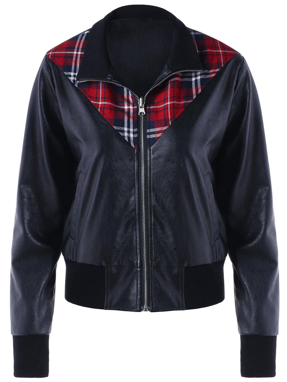 Affordable Plaid Panel Zip Up PU Leather Jacket