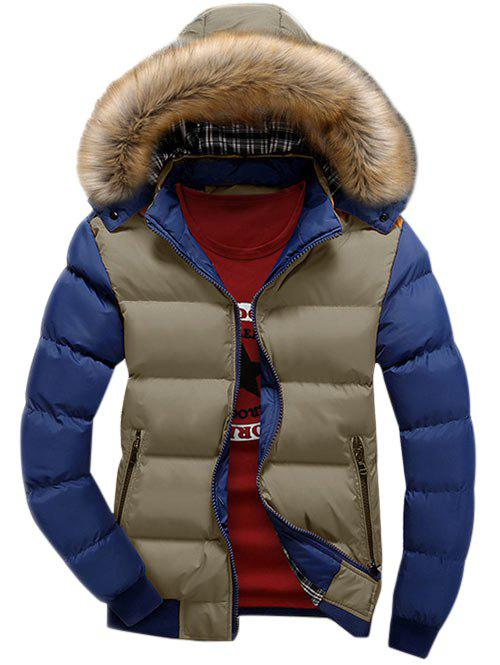 Latest Detachable Faux Fur Hood Zip Up Two Tone Quilted Jacket