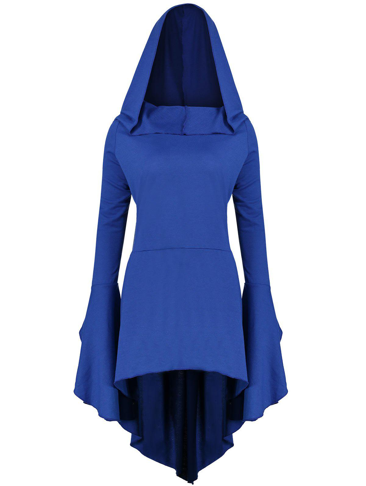 Flare Sleeve Long Plus Size High Low HoodieWOMEN<br><br>Size: XL; Color: BLUE; Material: Polyester,Spandex; Shirt Length: Long; Sleeve Length: Full; Style: Fashion; Pattern Style: Solid; Season: Fall,Spring; Weight: 0.7100kg; Package Contents: 1 x Hoodie;