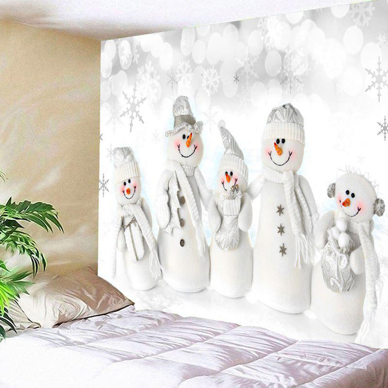 Wall Hanging Christmas Snowman Family Print TapestryHOME<br><br>Size: W59 INCH * L51 INCH; Color: WHITE; Style: Cute; Theme: Christmas; Material: Nylon,Polyester; Feature: Removable,Washable; Shape/Pattern: Snowman; Weight: 0.1800kg; Package Contents: 1 x Tapestry;