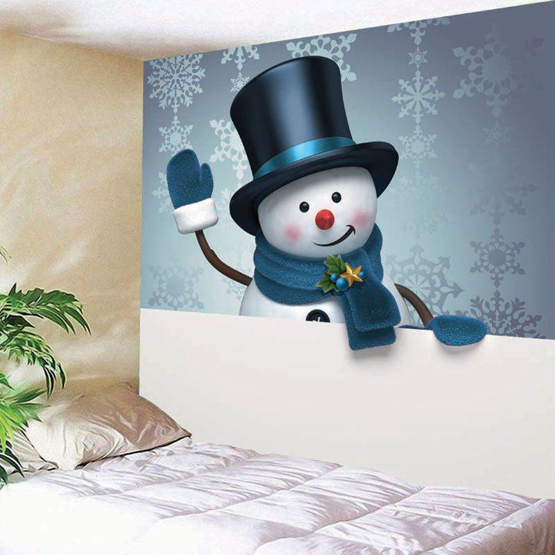 Wall Art Christmas Snowman Snowflake Printed TapestryHOME<br><br>Size: W79 INCH * L59 INCH; Color: COLORMIX; Style: Festival; Theme: Christmas; Material: Nylon,Polyester; Feature: Removable,Washable; Shape/Pattern: Snowman; Weight: 0.2700kg; Package Contents: 1 x Tapestry;