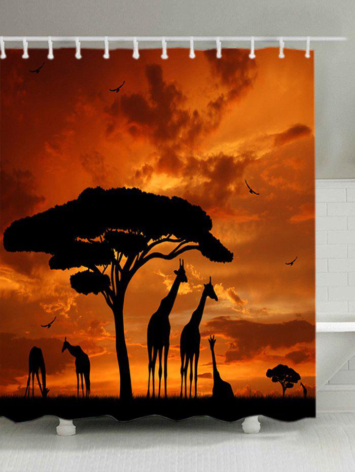 Sale Sunset Prairies Giraffes Print Waterproof Bathroom Shower Curtain