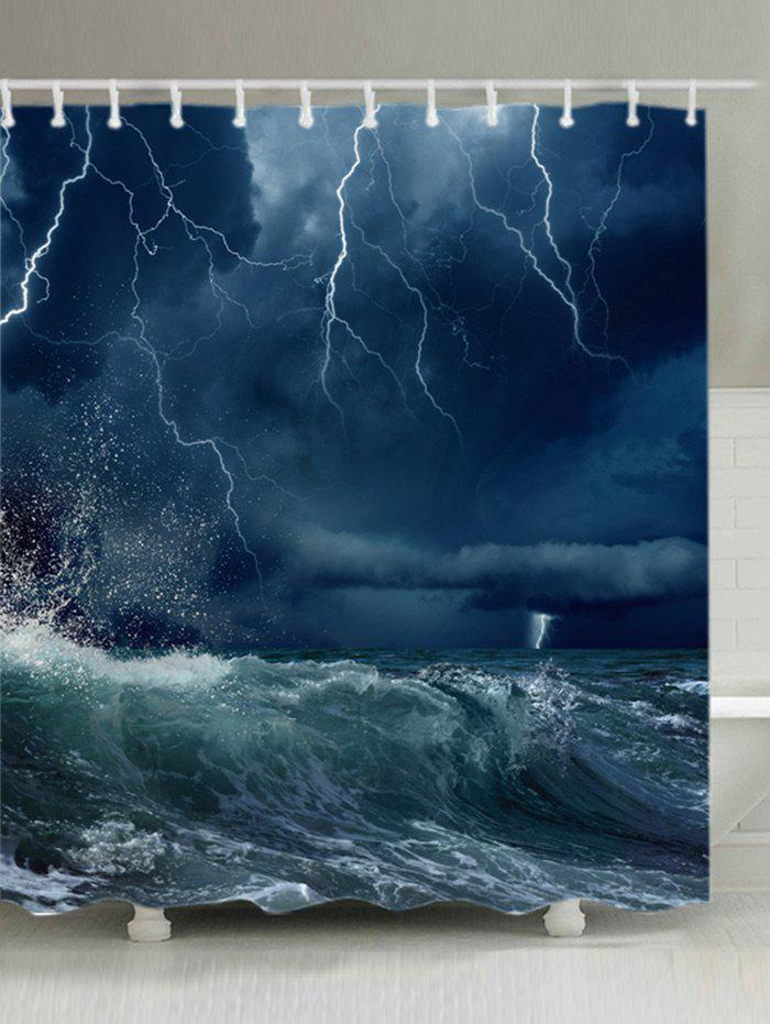 Outfit Lightning Ocean Wave Print Waterproof Bathroom Shower Curtain