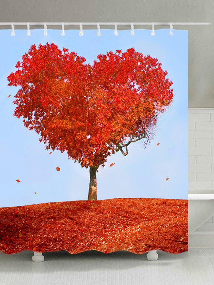 Unique Heart Maple Tree Print Waterproof Bathroom Shower Curtain