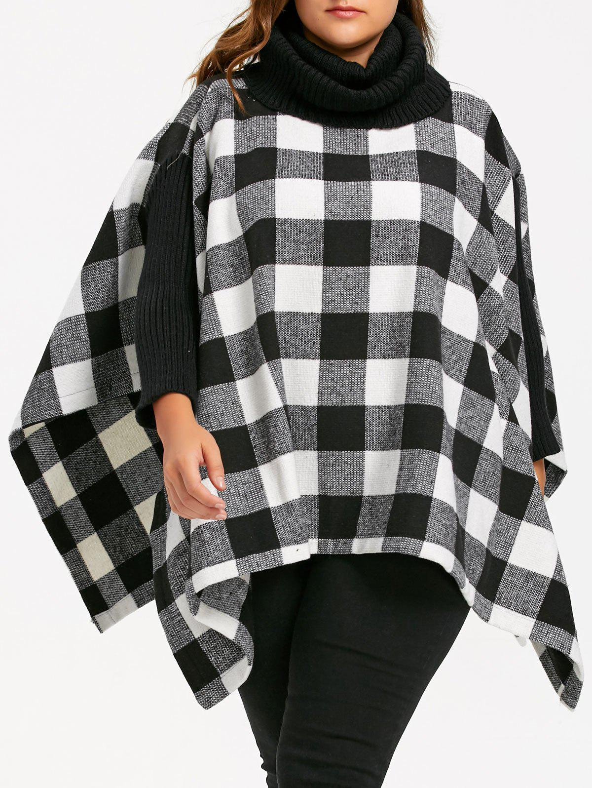 Latest Plus Size Plaid Turtleneck Poncho Coat