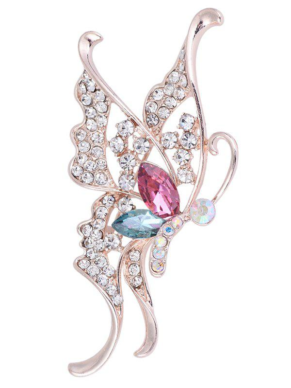 Faux Crystal Rhinestoned Butterfly BroochJEWELRY<br><br>Color: COLORFUL; Brooch Type: Brooch; Gender: For Women; Material: Rhinestone; Style: Trendy; Shape/Pattern: Insect; Length: 7CM; Weight: 0.0300kg; Package Contents: 1 x Brooch;