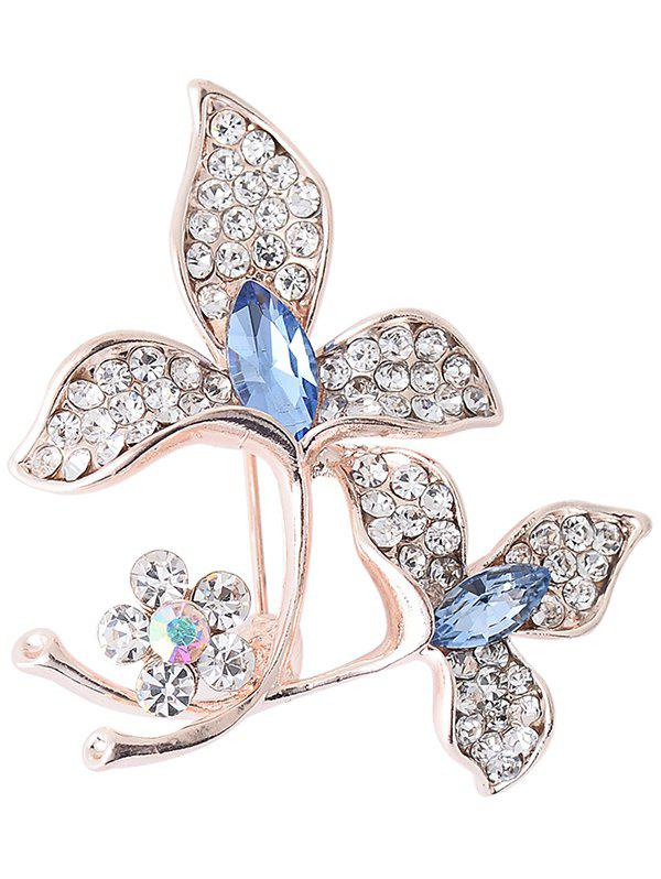 Faux Gem Rhinestoned Floral Broche Sparkly