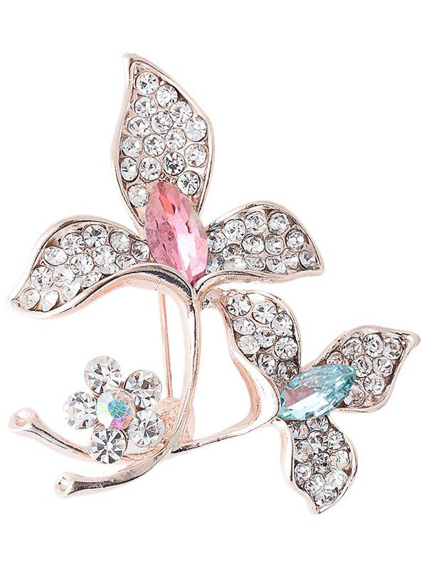 Faux Gem Rhinestoned Floral Sparkly BroochJEWELRY<br><br>Color: COLORFUL; Brooch Type: Brooch; Gender: For Women; Material: Rhinestone; Style: Trendy; Shape/Pattern: Floral; Length: 4CM; Weight: 0.0300kg; Package Contents: 1 x Brooch;