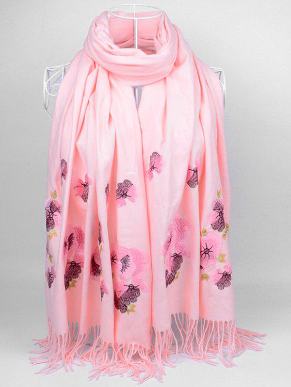 Unique Vintage  Floral Embroidery Ethinc Style Fringed Scarf