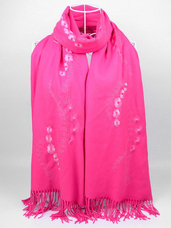 Affordable Vintage Small Flower Embroidery Fringed Long Scarf