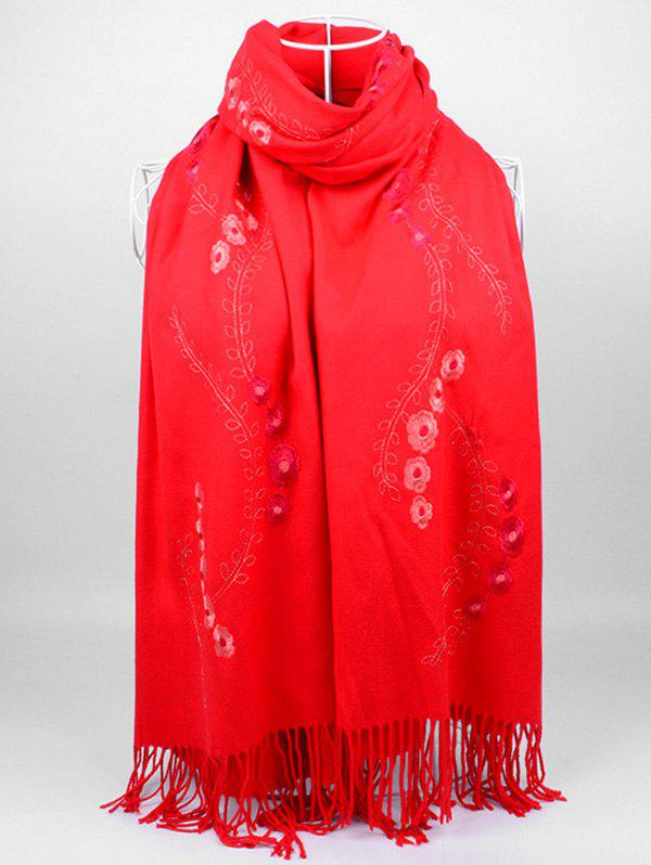 Fashion Vintage Small Flower Embroidery Fringed Long Scarf