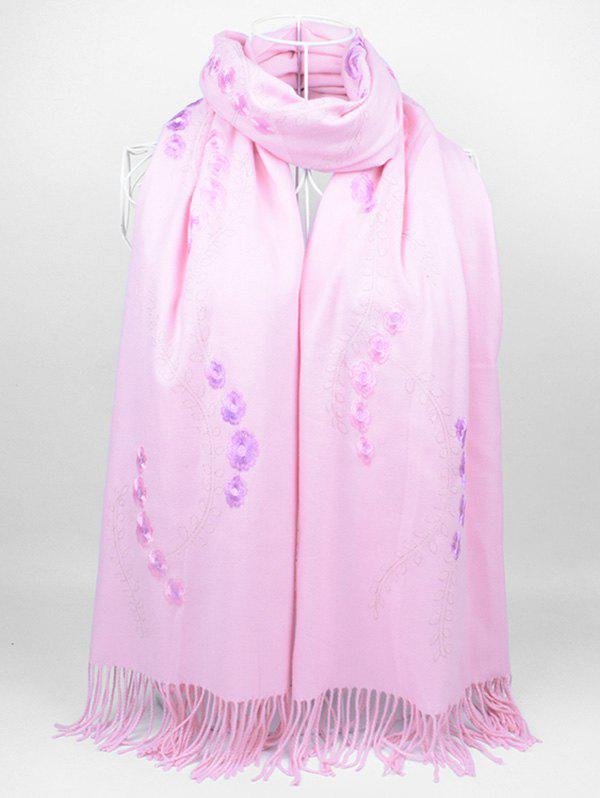 Latest Vintage Small Flower Embroidery Fringed Long Scarf
