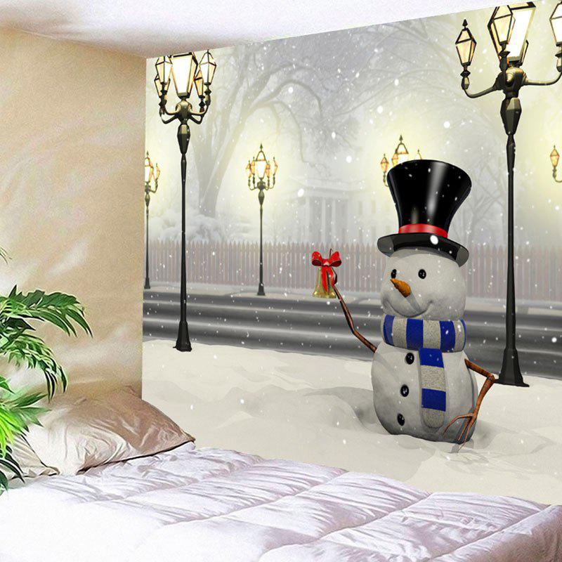 Christmas Street Lamp Snowman Printed Wall Art TapestryHOME<br><br>Size: W79 INCH * L71 INCH; Color: COLORMIX; Style: Festival; Theme: Christmas; Material: Nylon,Polyester; Feature: Removable,Washable; Shape/Pattern: Snowman; Weight: 0.3000kg; Package Contents: 1 x Tapestry;