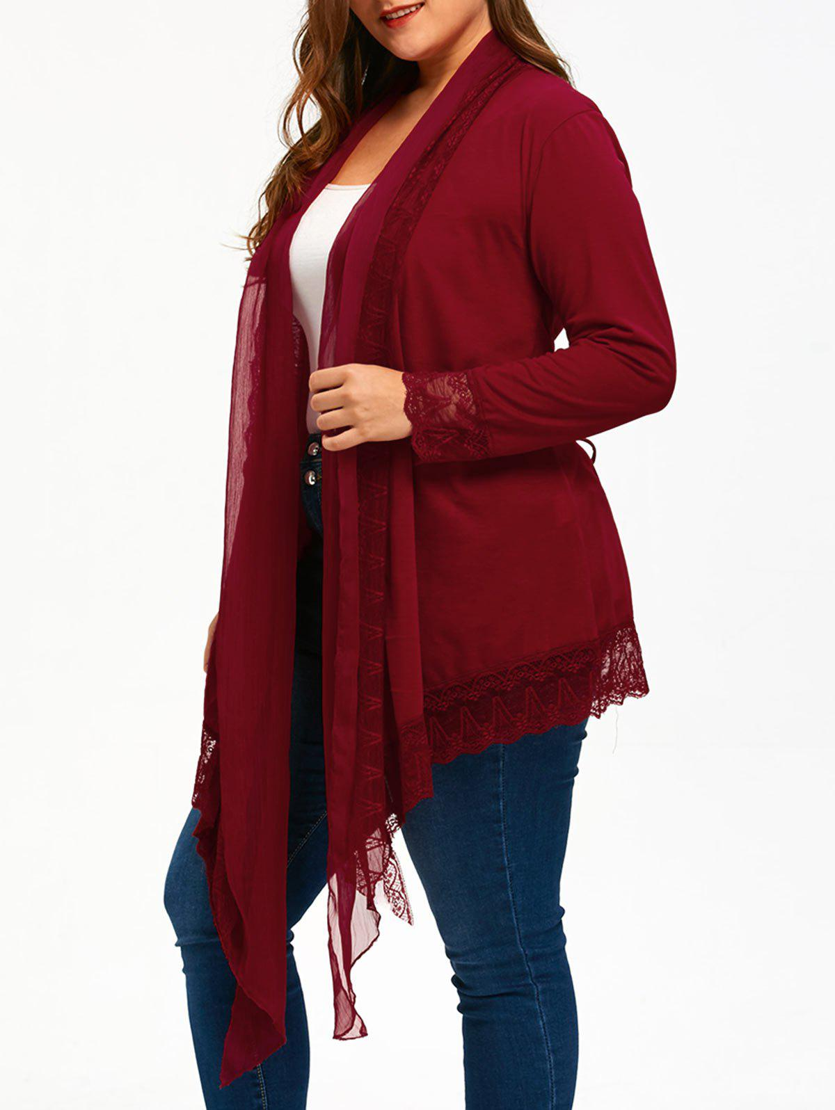 Lace Trim Criss Cross Plus Size CardiganWOMEN<br><br>Size: 5XL; Color: WINE RED; Type: Cardigans; Material: Polyester,Spandex; Sleeve Length: Full; Collar: Turn-down Collar; Style: Casual; Season: Fall,Spring,Winter; Pattern Type: Solid; Elasticity: Elastic; Weight: 0.3200kg; Package Contents: 1 x Cardigan;
