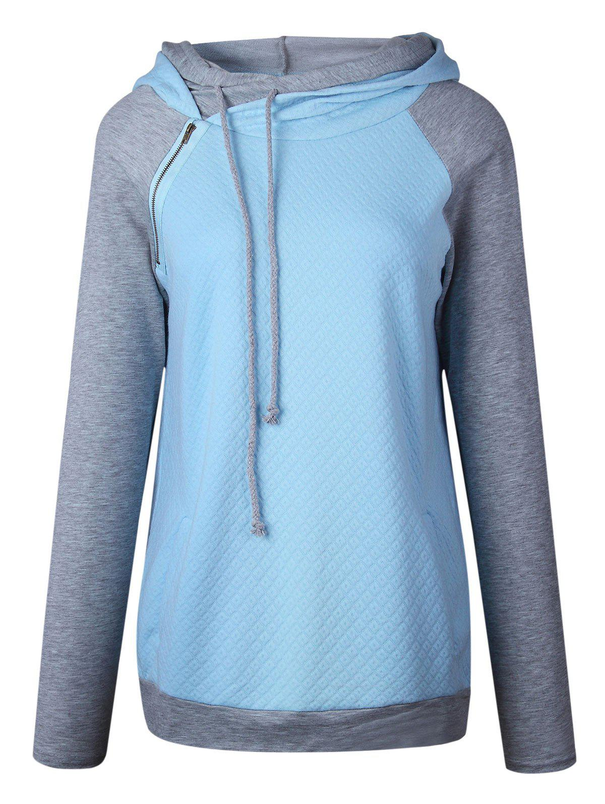 Trendy Zippered Embellished Raglan Sleeve Mock Neck Hoodie