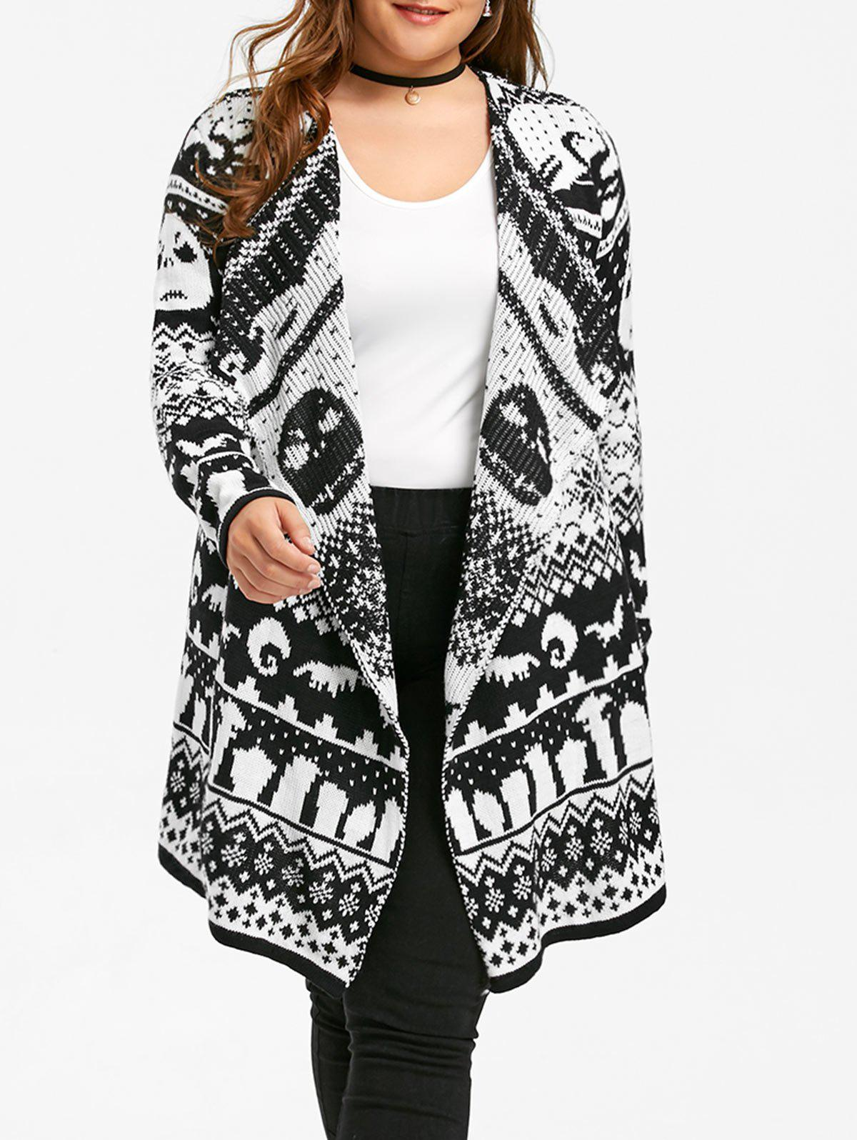 Halloween Plus Size Skull Sweater Drape CardiganWOMEN<br><br>Size: 5XL; Color: BLACK WHITE; Type: Cardigans; Material: Polyester,Spandex; Sleeve Length: Full; Collar: Collarless; Style: Fashion; Season: Fall,Winter; Pattern Type: Others; Weight: 0.4700kg; Package Contents: 1 x Cardigan;