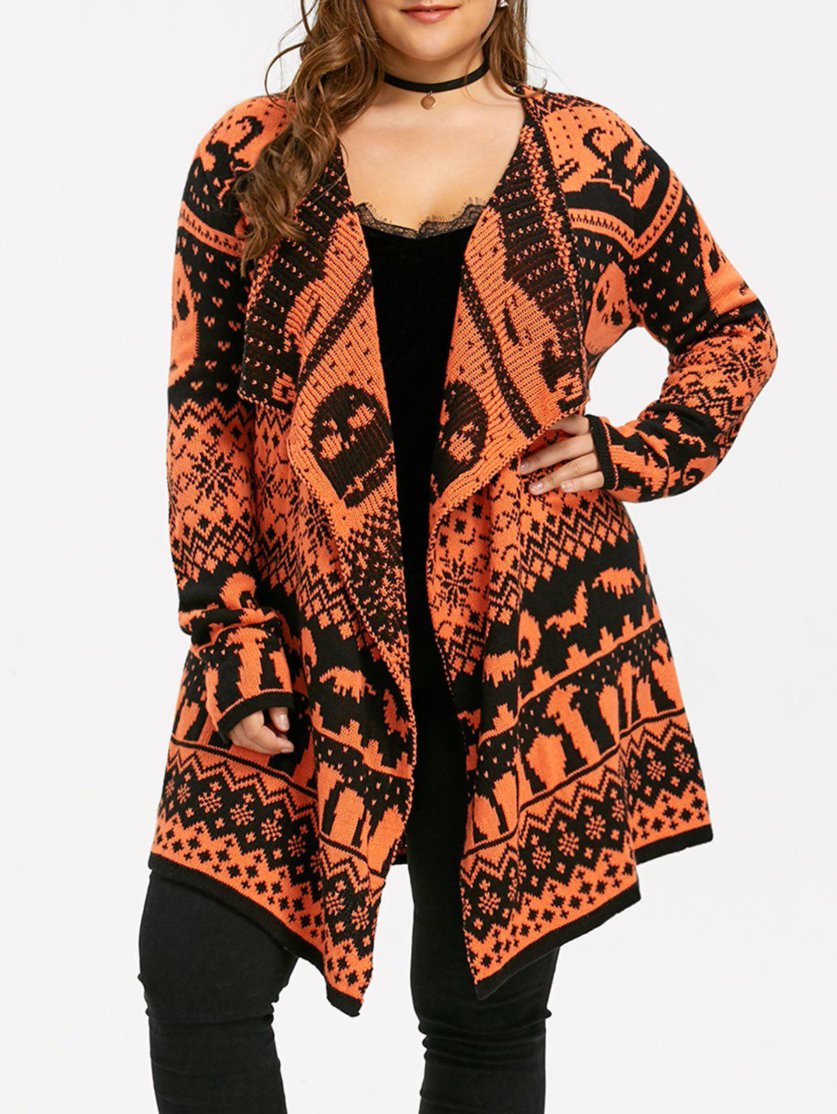 Halloween Plus Size Skull Sweater Drape CardiganWOMEN<br><br>Size: 5XL; Color: BLACK AND ORANGE; Type: Cardigans; Material: Polyester,Spandex; Sleeve Length: Full; Collar: Collarless; Style: Fashion; Season: Fall,Winter; Pattern Type: Others; Weight: 0.4700kg; Package Contents: 1 x Cardigan;