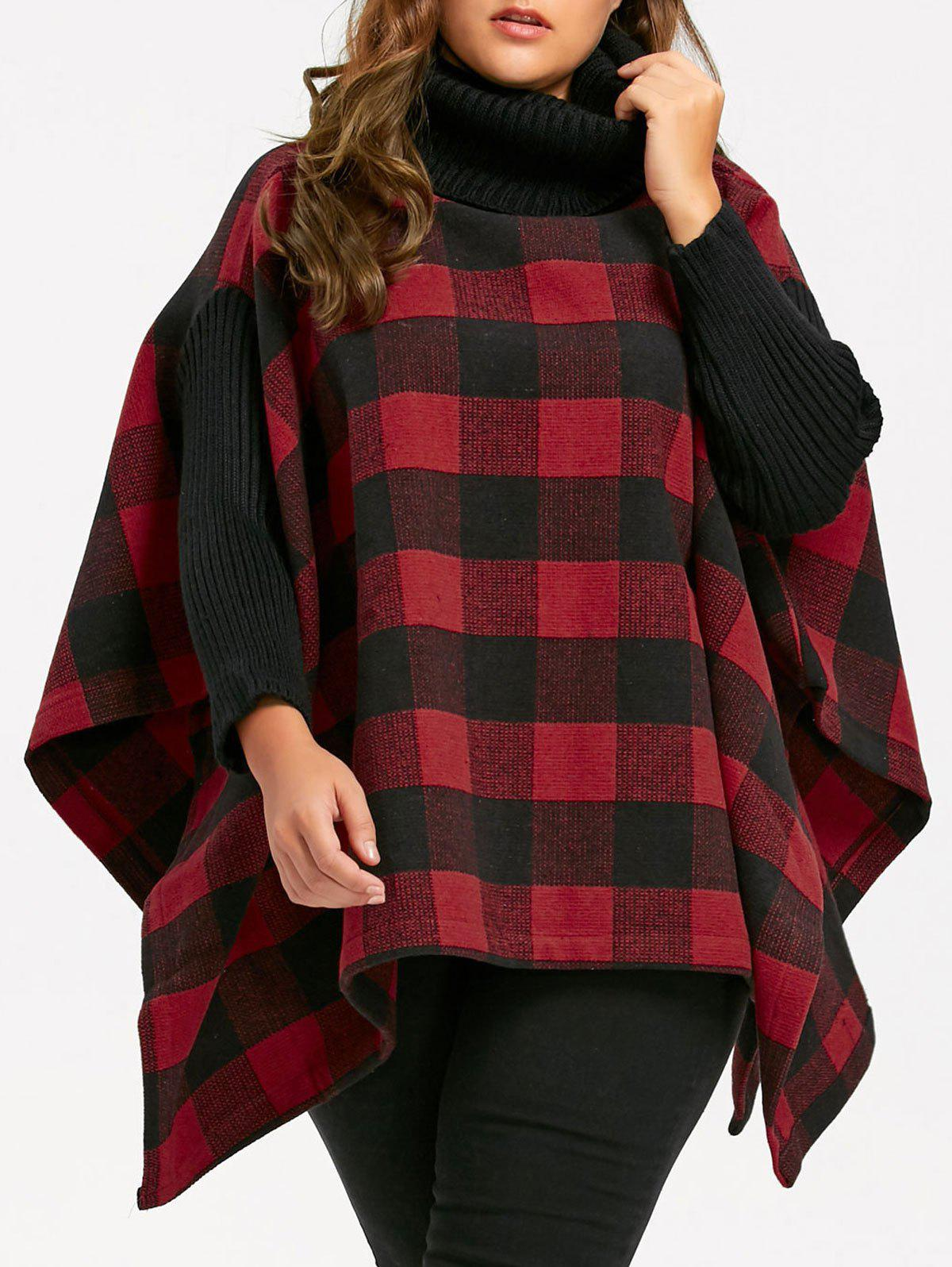 Hot Plus Size Plaid Turtleneck Poncho Coat