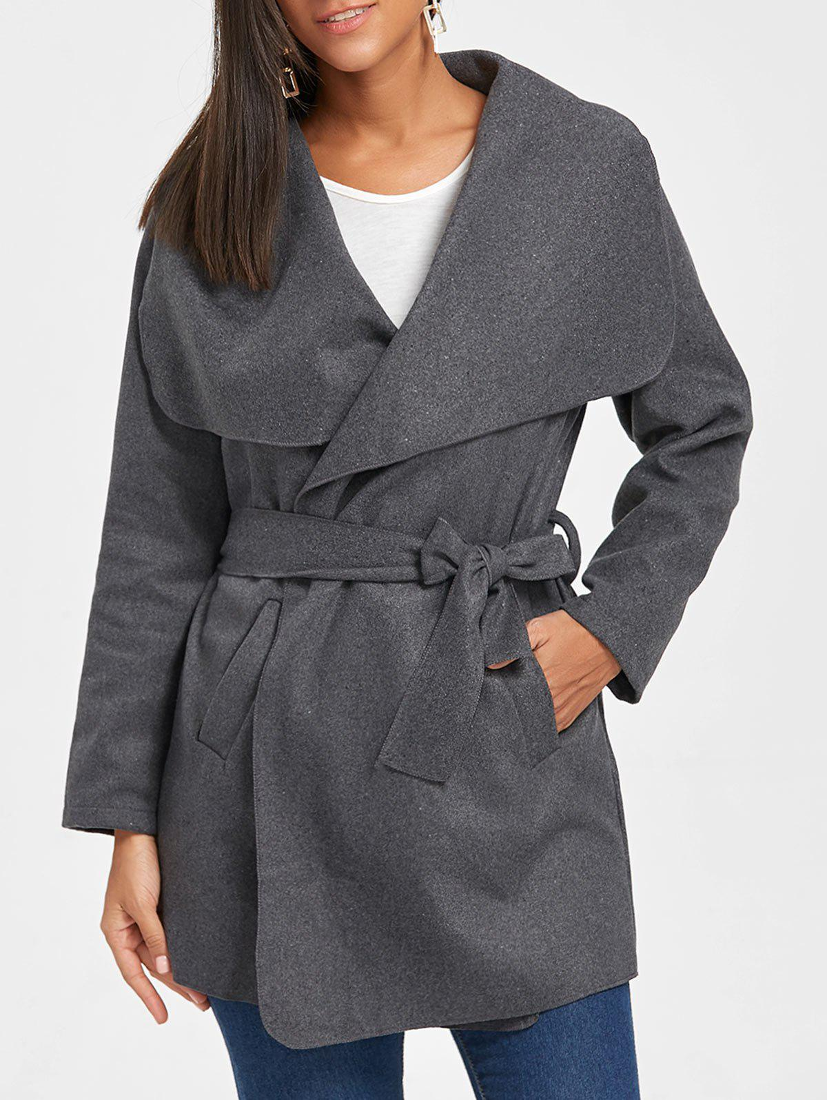 Unique Belted Tunic Draped Wool Coat