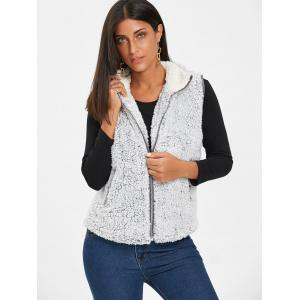 Zip Fly Stand Collar Shearling Vest - LIGHT GRAY L