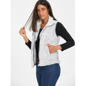 Zip Fly Stand Collar Shearling Vest - LIGHT GRAY XL