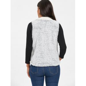 Zip Fly Stand Collar Shearling Vest - LIGHT GRAY 2XL