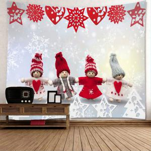 Christmas Snowman Paper Cutting Printed Wall Tapestry - COLORMIX W59 INCH * L51 INCH