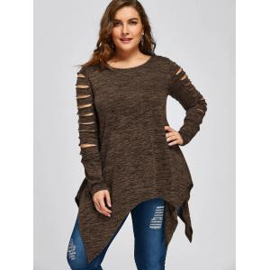 Plus Size Ripped Sleeve Marled Handkerchief Top - COFFEE XL