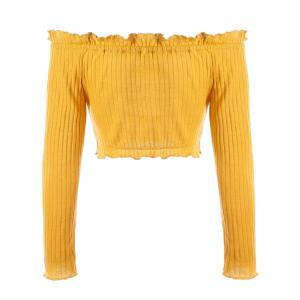Off The Shoulder Ruffle Ribbed Crop Sweater -