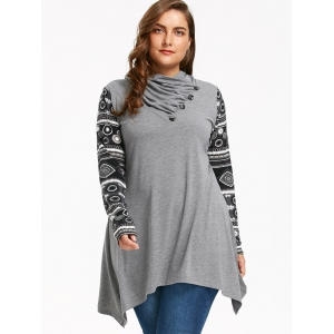 Plus Size Heaps Collar Long Sleeve Sharkbite T-shirt - GRAY 3XL