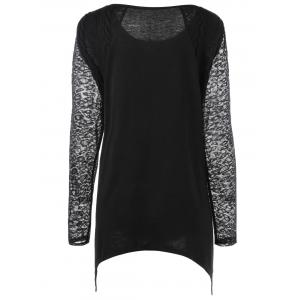 Plus Size Lace Trim Henley Top - BLACK XL