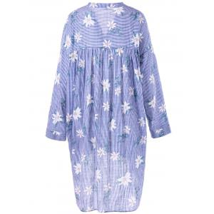 Plus Size Pinstripe Floral Dip Hem Dress -