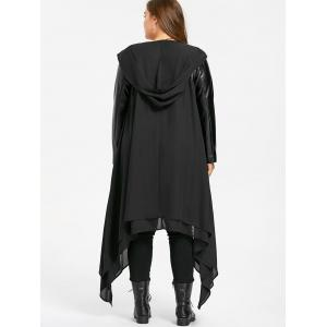 PU Leather Panel Hooded Duster Coat - BLACK 3XL