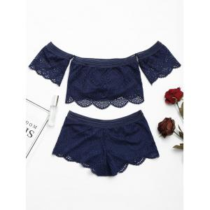 Lace Sheer Off Shoulder Bralette Set -