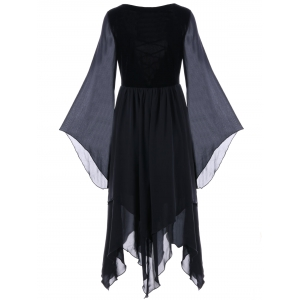 Asymmetric Flare Sleeve Lace-up Chiffon Dress - BLACK M