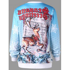Christmas Graphic Print Pullover Sweatshirt - COLORMIX M