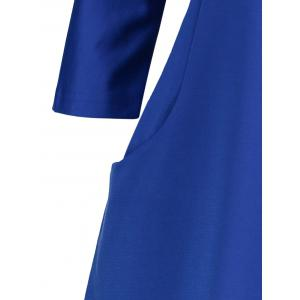 Plus Size Fitted Midi Dress with Pockets - BLUE 3XL