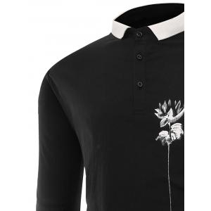 Lotus Print Buttons Polo T-shirt - BLACK XL