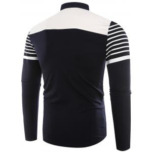 Buttons Color Block Stripe Polo T-shirt - ROYAL 2XL