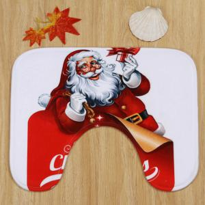 Christmas Santa Gifts Pattern 3 Pcs Bath Mat Toilet Mat - RED