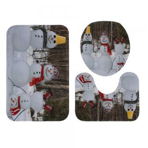 Christmas Snowmen Family Pattern 3 Pcs Bath Mat Toilet Mat -