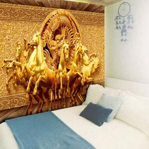 Unicorns and Dragon Printed Wall Art Tapestry - GOLDEN W59 INCH * L51 INCH