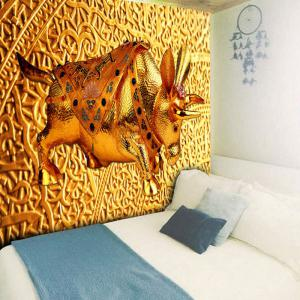 Wall Hanging Golden Cow Printed Tapestry - GOLDEN W59 INCH * L51 INCH