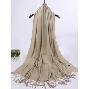 Soft Artificial Cashmere Fringed Long Scarf - KHAKI