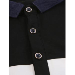 Buttons Color Block Embroidered Polo T-shirt - BLACK L