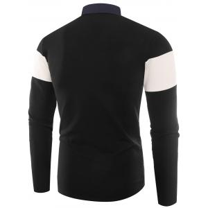 Buttons Color Block Embroidered Polo T-shirt - BLACK XL