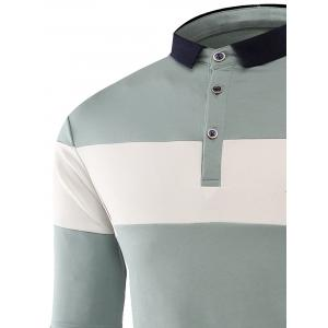 Buttons Color Block Embroidered Polo T-shirt - LIGHT BLUE XL