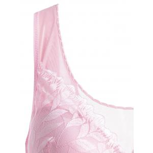 Plus Size Leaf Lace Wirefree Padded Bra - PINK 3XL