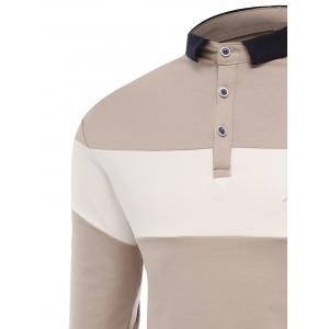 Buttons Color Block Embroidered Polo T-shirt - APRICOT 2XL