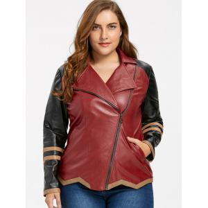 Skew Zipper Plus Size Faux Leather Jacket - WINE RED 5XL
